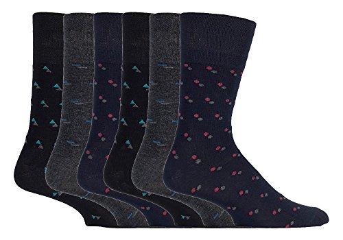 Gentle Grip - 6 pares hombre fantasia bambu calcetines sin elasticos para la circulacion