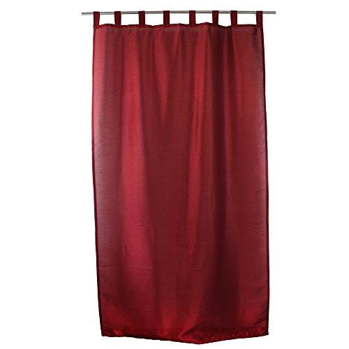 Gözze, Rideau Dakar 140x255 cm, Aspect Soie, uni Rouge, prêt à Poser, 8 Passants, Bande d'ourlet thermocollante, Opaque, Tissu Soyeux de Belle qualité