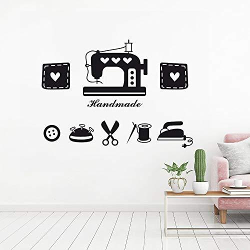 JXFM DIY Tienda de Costura Etiqueta de la Pared máquina de Coser decoración de la Pared botón de Hierro Tijeras Vinilo Apliques Tienda de Ropa decoración Costura corazón 54x75cm