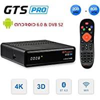 GT MEDIA GTS Pro DVB-S2 Decodificador Satélite Receptor de TV Digital & Android 6.0 Quad Core Smart TV Box Soporte FTA CC CAM New CAM Youtube, 4K 3D H.265 HD 1080P Wi-Fi Ethernet Bluetooth GT Player