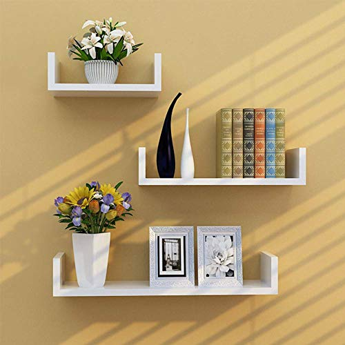 Set Of 3 U Shape Shelves Floating Wall Shelve Home Decor Storage Wood Shelf Unit Home Furniture Garden Contemporary House Office Wall Corner Mounted White Patio Small Bookshelves