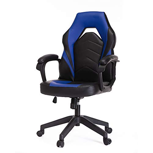 Gaming Chair, Racing Style Ergonomic Executive Computer Office Chair Bonded Leather with Lumbar Support and Padding Armrest,Blue