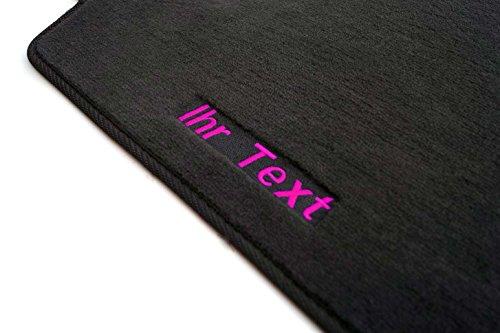 kh Teile Fußmatte (Velour) Corsa D Automatten, Bestickt mit Wunschtext Namen, Textfarbe: Pink
