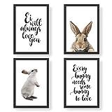 4 Premium Poster zu Ostern | DIN A4 | Wandbilder für Wohnzimmer & Küche - Ostersprüche - hochwertige Kunstdrucke | Dekoration | Wandbild Set
