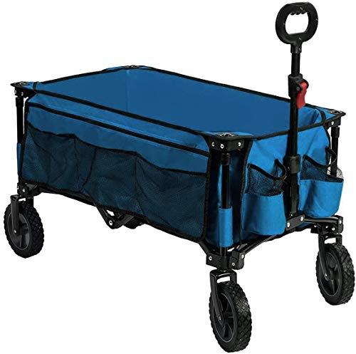 Timber Ridge Bollerwagen faltbar Handwagen klappbar Faltwagen Transportwagen Strandwagen Gartenwagen für alle Gelände mit Seitentasche Getränkehalter bis 80kg Tragkraf tblau