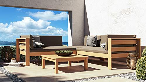 ARTELIA Maiko Holz Loungemöbel - Gartenmöbel-Set für Garten, Wintergarten und Balkon, Terrassenmöbel Sitzgruppe, Natur Akazie