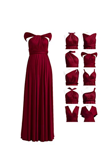 Bridesmaid Dress, Womens Long Bridesmaid Infinity Dress Multi-Way Wedding Convertible Wrap Infinity Cocktail Sexy Party Formal Prom Transformer Gown Gowns Maxi Dress Dresses Burgundy