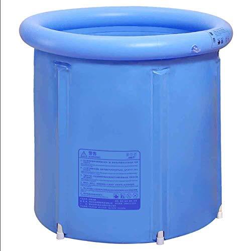 Bañera portátil Familiar de Gran tamaño Barril de baño Profundo Barril de baño Plegable Barril de baño Inflable Barril de baño para Adultos (Azul) (Tamaño: L)