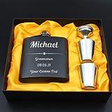 Petaca de acero inoxidable grabado con láser personalizable, para cumpleaños, boda, aniversario, regalo personalizado (negro)