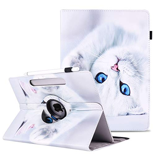 9.5-10.5 Universal Tablet Case, APOLL PU Leather 360 Degree Rotate Stand Anti-Scratch Pencil Holder Lightweight Protective Case for 9.6' 9.7' 10.1' 10.2' 10.4' 10.5' Touchscreen Tablet, White Cat