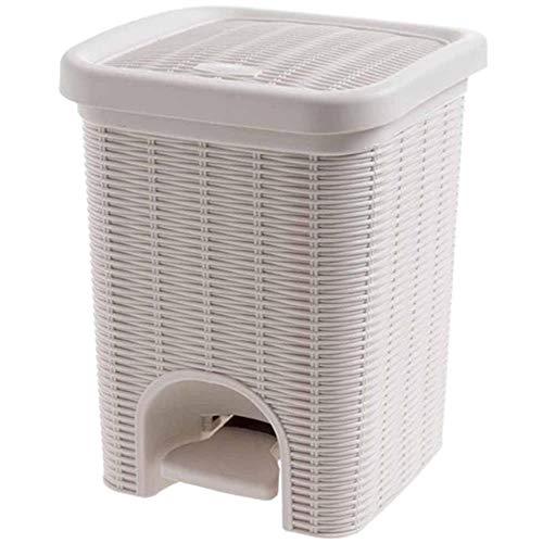 JUECAN Papelera de ratán PP Tipo de Papelera de plástico Papelera de Cocina Sala de Estar Papelera de Almacenamiento de Basura,Brown