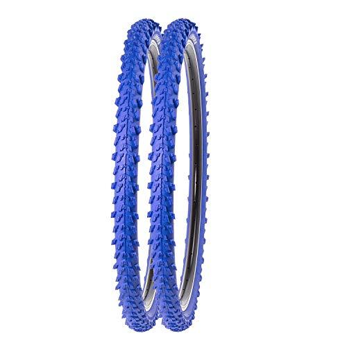 P4B | 2X 24 Zoll MTB Fahrrad Reifen | Sehr guter Grip in Allen Situationen | Hohe Laufruhe | 24 x 1.95 | 50-507 | Für Mountainbike | 24 Zoll Fahrrad Mantel in Blau