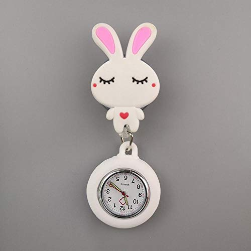 Reloj de Bolsillo para Enfermera,Lindo Reloj de Bolsillo Reloj electrónico de Moda, Enfermera Lindo Reloj de Pecho-Buenas Noches Conejo,Reloj Médico de Cuarzo