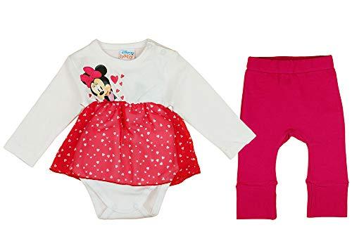 Minnie Mouse Zweiteiler Set mit Hose und Body-Kleid für Baby Mädchen in Rot Weiß (Modell 2, 74)