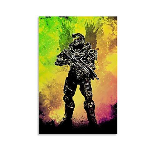 ZMSS Halo Master Chief Collection - Póster decorativo de lienzo para pared de salón, póster para dormitorio, 60 x 90 cm