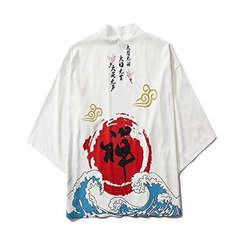 FKYGDQ Camisa De Estilo Chino Buda Zen De Impresión De La Manga 3/4 Estilo Japonés Kimono (Color : White, Size : M)