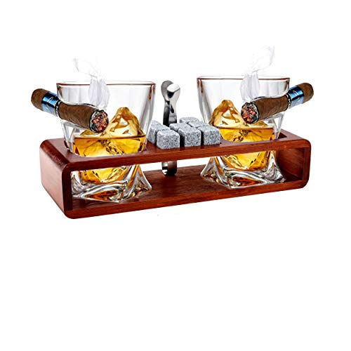 Bezrat Old Fashioned Cigar Whiskey Glasses With Side Mounted Cigar Rest Gift Set - + Whisky Chilling Stones and accessories on Wooden Tray - Scotch Bourbon Glasses – Granite Chilling Rocks (Brown)