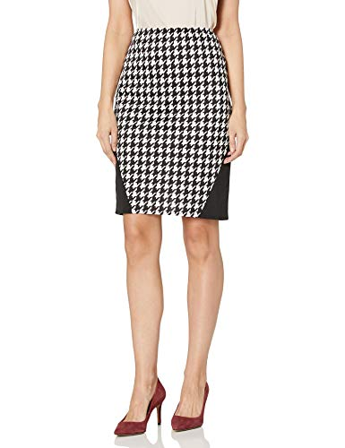 Star Vixen Women's Stretch Sexy Secretary Pencil Skirt with Insets, Houndstooth/Black, L