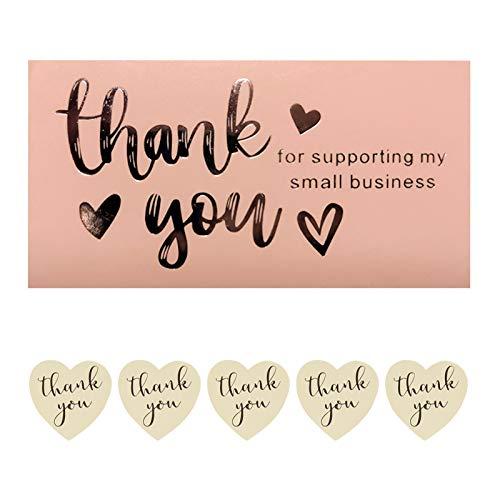 AUXSOUL 100 Pack Biglietto Di Auguri Cartolina Buste Con Adesivi Sigillanti, Grazie per Aver Sostenuto i Miei Piccoli Biglietti da Visita per Auguri di Matrimonio, Compleanno Inviti Lettera