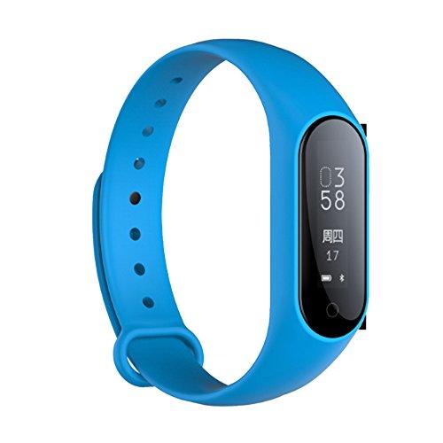 oobest Smart Bluetooth hartslagband bloeddrukmeter waterdicht stappenteller fitness armband met hartslagmonitor voor kinderen vrouwen en mannen, Blauw