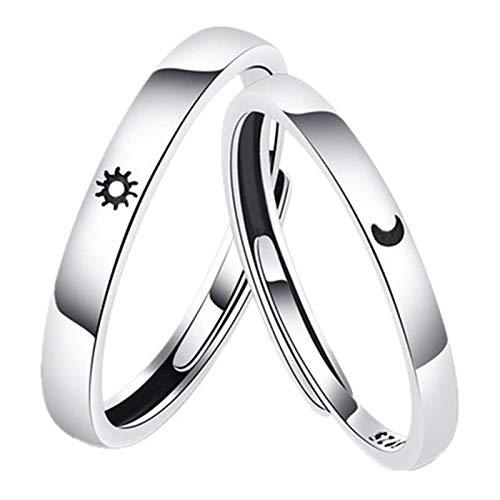 Ammily Versprechenring-Set, Sonne und Mond, versilbert, Geschenk für Paare, Freund, Freundin, 2 Stück