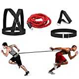 Sunsign 4-Pcs Bungee Resistance Cord Set Fit Solo or Partner Great for Taekwondo Hockey Tennis Football Basketball Fencing Vertical Jumps Lateral Movement Sprint Overspeed Training 9.8FT-Red Rope