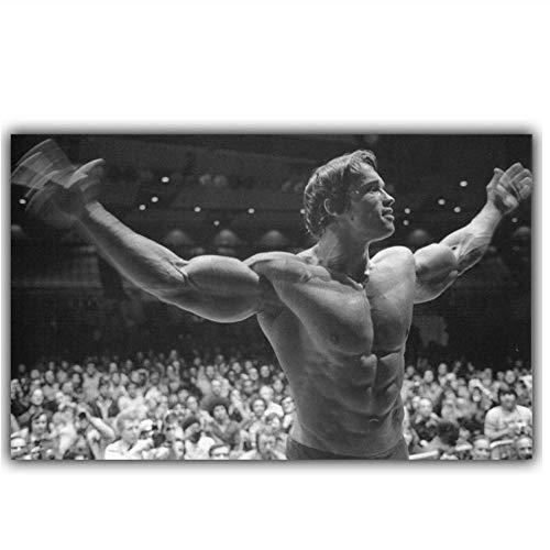 chtshjdtb Arnold Schwarzenegger Bodybuilding Motivationskunst Silk Poster Print Fitness Inspirational Bild für Room Wall Decor- 60x90cm No Frame