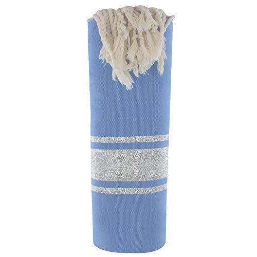 LES POULETTES Fouta Badetuch Blau Baumwolle und Silber Lurex Streifen