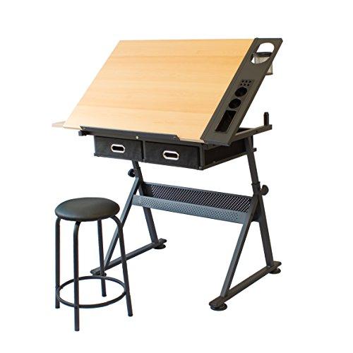 Stationery Island FOULA Zeichentisch. Höhen- und Neigungsverstellbarer Tisch mit Stauraum, Hocker und Klammern. Für Kunst, Design, Schreiben, Malen, Basteln, Technisches Zeichnen, Arbeit & Studium