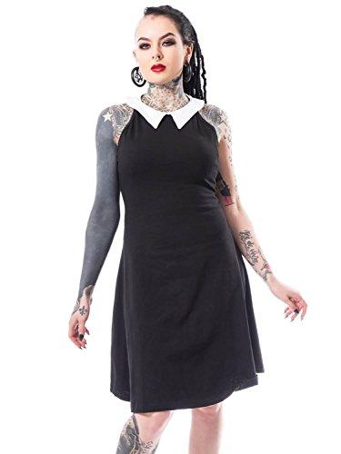 Heartless Vestido Gótico Emo de Cuello Hálter en Negro Louise - S