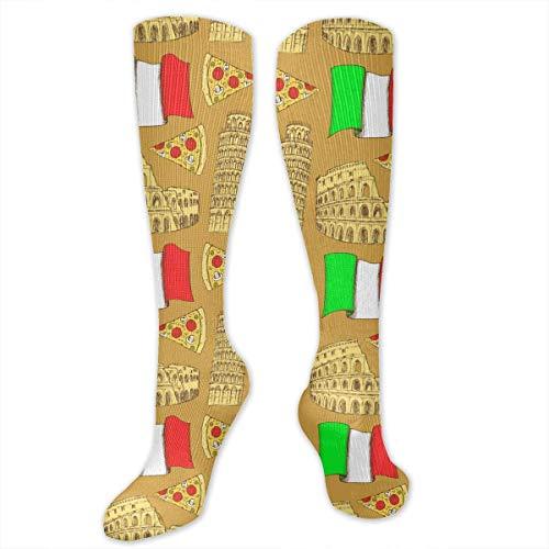 Italienisches Colosseum Pisa Tower Pizza Lustige Persönlichkeit Herren und Damen Socken Polyester 50 x 8,6 cm Kniehohe Kleid Mittelstrümpfe Mädchen Cosplay Mode lange Socken weich und bequem