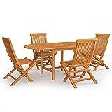 Best Choice Products Juego de bistró de Madera de Teca de 5 Piezas, Muebles de Patio Plegables para Patio Trasero, balcón, terraza con 4 sillas, Mesa de Centro Ovalada, Acabado de Teca - Natural