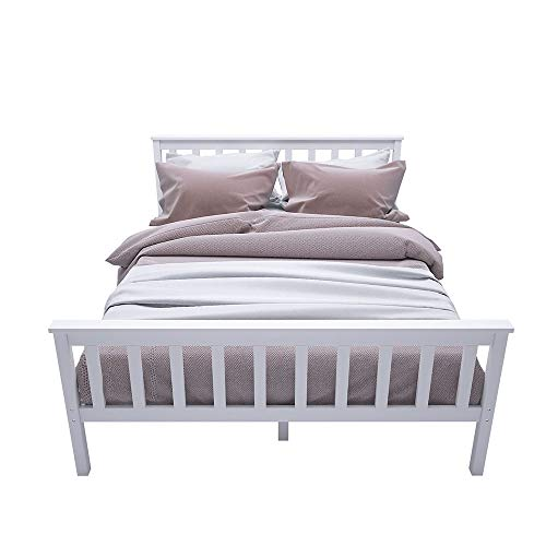 YFMXO Double Bed Wooden Frame Solid Pine for Adults, Kids, Teenagers White (Double bed #1)