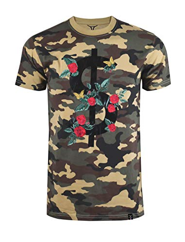 SCREENSHOTBRAND-S11903 Mens Hipster Hip-Hop Premium Tee - Luxury Longline Dollar Sign Flower Print T-Shirt-Woodland-Large