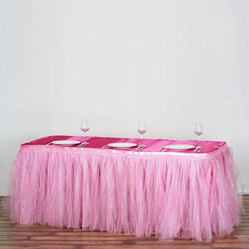 Efavormart 21 FT Two Layered Tulle Tutu Wedding Party Banquet Table Skirt With Satin Edge for Dining Catering Wedding - Pink