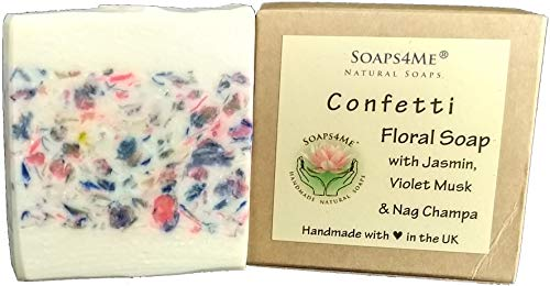 Preisvergleich Produktbild SOAPS4ME Konfetti Floral handgefertigte Seife / Jasmin / Nag Champa / Violetter Moschus / Maiglöckchen / Sheabutter
