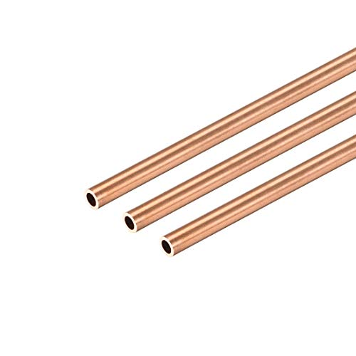 uxcell Copper Round Tube, 3mm OD 0.5mm Wall Thickness 300mm Long Straight Pipe Tubing 3 Pcs