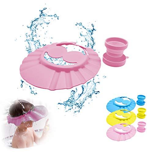 Duschhaube kinder, haare waschen kinder schutz, baby bade, haarwaschhilfe kinder, augenschutz haare waschen, Duschhaube für Kinder x1, Faltbare Tasse x1, Einstellbare Größe: 30-53cm (rosa)