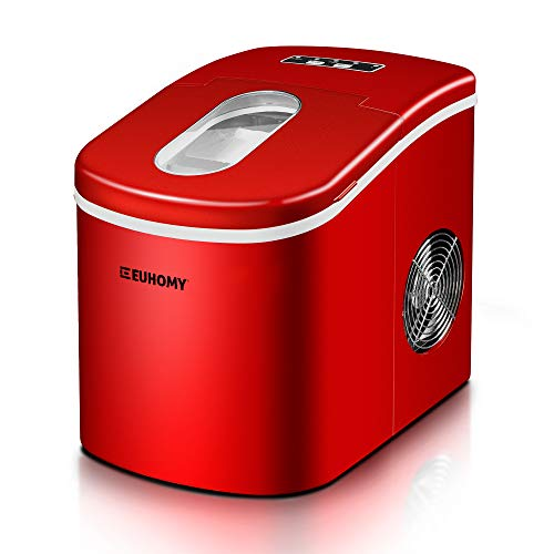 Euhomy Ice Maker Countertop, 26lbs/24H Portable Compact ice maker machine, 9 Ice cubes ready in 8 Mins, with Ice Scoop & Basket, Perfect for Home/Kitchen/Office/Bar (Red)