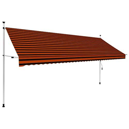 vidaXL Markise Einziehbar Handbetrieben Wasserabweisend Klemmmarkise Balkonmarkise Sonnenschutz Terrasse Balkon Garten 400cm Orange Braun