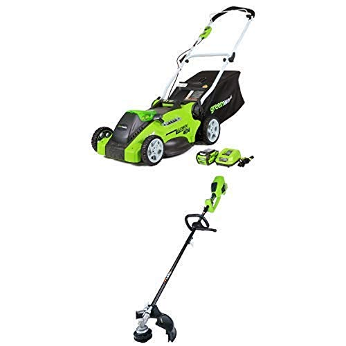 Greenworks 16-Inch 40V Cordless Lawn Mower with 14-Inch 40V Cordless String Trimmer (Attachment Capable) Battery Not Include -  Sunrise Global Marketing, LLC