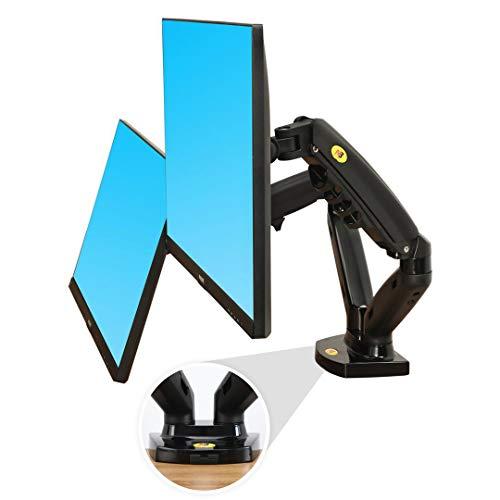 Ergosolid Soporte de Escritorio para 2 Pantallas LCD LED de 17 a 27 Pulgadas, Ajuste en Varios Ejes, pivote, Muelle de Gas de hasta 2 x 9 kg