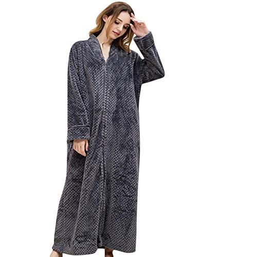 VJGOAL Moda Casual de Invierno Bata de baño Vellón Suave Transpirable Albornoz Bata Túnica Marcas largas y Pijama Spencer Bata de Noche(Medium,Gris)