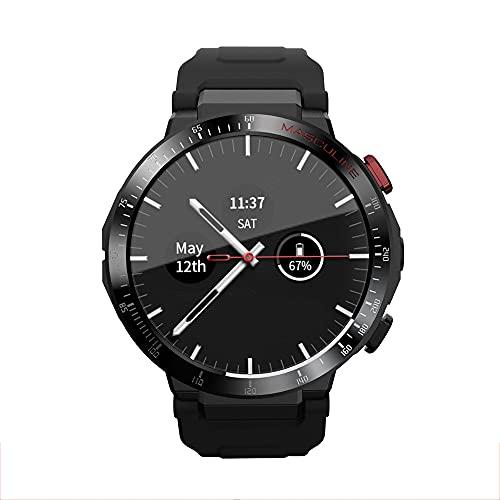 Lazzzgua 4G Smart Watch Men 1.3 Inch Full Round Touch Screen 2GB+16GB Sport Smartwatches Reloj Inteligente Phone 800mAh IP65 Waterproof WiFi Bluetooth GPS Sports Heart Rate Bracelet
