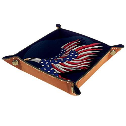 XiangHeFu Amerikanische Flagge kahl Valet Tray Ledertablett Leder Catchall Schlüssel Handy Münzkasten für Schlüsselgeld Nachttisch Storage Container Box Organizer