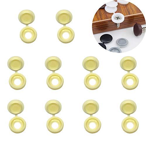 YouU 50 Tapas de Plástico con Bisagras para Tornillos, Tapas Abatibles para Arandelas, 5 colores a elegir: beige, gris claro, marrón claro, cian antiguo, marrón oscuro (beige)