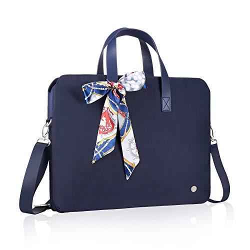 Kamlui Laptop Bag for Women Computer Case Shoulder Messenger 15.6 inch Leather Tote Business Office Briefcase Large Capacity Laptop Bag,for MacBook Pro Air iPod Lenov Samsung Dell HP ASUS (Blue)
