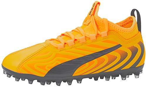 PUMA Unisex Kids PUMA ONE 203 MG Jr Football boots ULTRA YELLOW Puma Black Orange Alert 1 UK