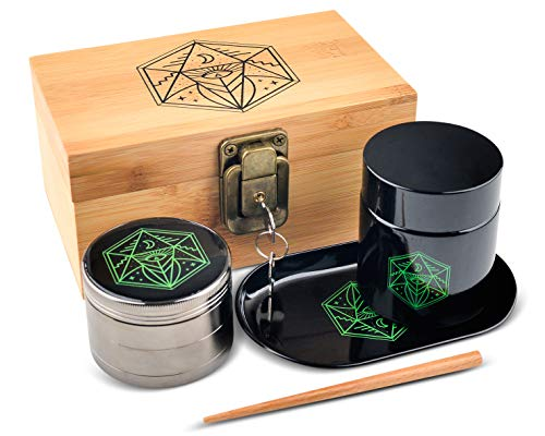 Vintage Stash Box Combo Kit - Ancient Symbol Design - Locking Wooden Bamboo Stash Box - Herb Grinder - Metal Rolling Tray - Airtight & UV Protecting Glass Jar - Accessory Gift Kit - By Leaf-Way
