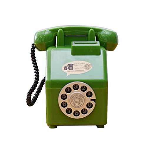Nette Kunststoff Retro Telefon Sparschwein Vintage Cartoon Spardose Kreative Kinder Geschenk Hause Schönheit Dekoration Safe Facebank (Grün)